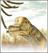 Sauropodene var vegetarianere. Slik kan det ha sett ut når Abydosaurus mcintoshi forsynte seg fra salatfatet. Illustrasjon Brigham Young University