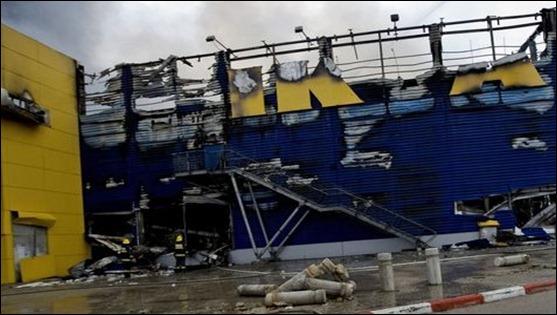 la primera tienda de ikea en israel fue totalmente destruda en un incendio esta pasada noche
