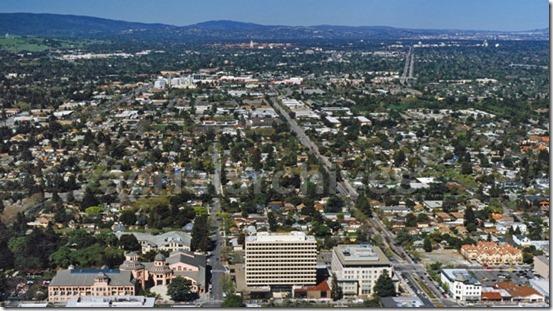 aerial above Castro Street, Mountain View, California