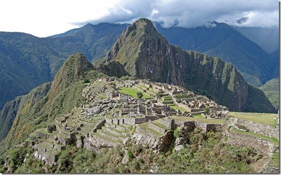 classic view of Machu Picchu (actually Waynu Picchu)