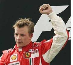 Ferrari Formula One driver Kimi Raikkonen of Finland celebrates during the award ceremony after winning the Malaysian Grand Prix at the Sepang Formula One circuit near Kuala Lumpur, Malaysia, Sunday, March 23, 2008. Raikkonen won the grand prix and Kubica finished 2nd.  (AP Photo/Eugene Hoshiko)