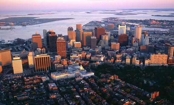 Aerial View of Downtown Boston, Massachusetts