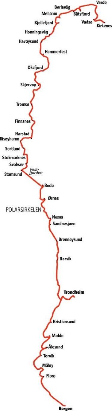 HURTIGRUTEN Anløpssteder mellom Bergen og Kirkenes. Grafikk KJELL ERIK BERG
