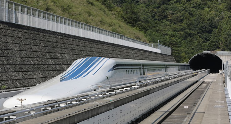 The L0 (L zero) series magnetic-levitation train, developed by Central Japan Railway Co