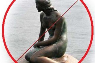 La sirenita de Copenhague demasiado desnuda para Facebook