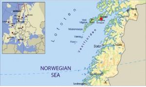 Mapa de ubicación de las Islas Lofoten