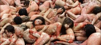 Protesta contra la industria peletera en Madrid.