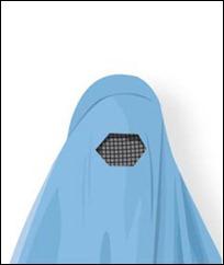 B Burka Täcker hela kroppen, med ett gallerliknande tygstycke för ögonen