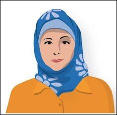 B Hijab Sjal som täcker hår och del av axlar. Finns i många utföranden och färger.