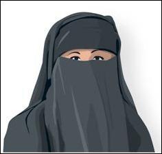 B Niqab Täcker allt utom ögonen. En slöja som bärs tillsammans med huvudduk eller sjal.