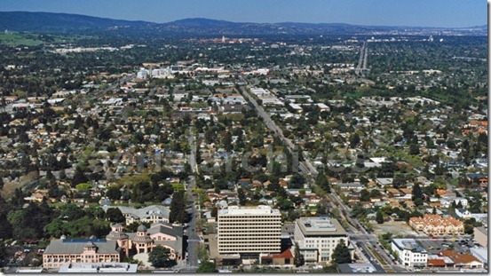 aerial above Castro Street, Mountain View, California