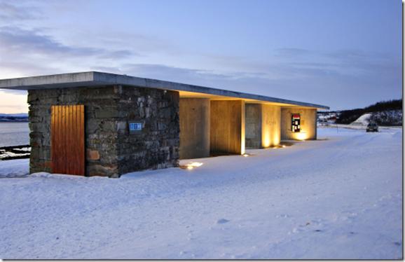 Rasteplassen Gornitak ved Varangerfjorden. Arkitekt Margrete Friis. Nasjonal turistveg Varanger
