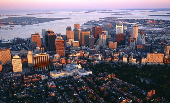 Aerial View of Downtown Boston, Massachusetts