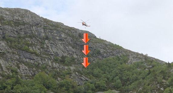 Mann falt 70 meter ned i fjellsprekk