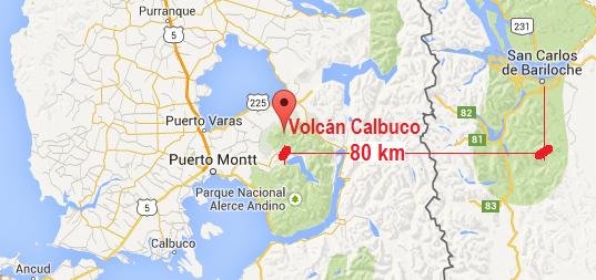 Ubicación del Volcán Calbuco y distancias a principales centros urbanos en la zona del Lago Llanquihue.